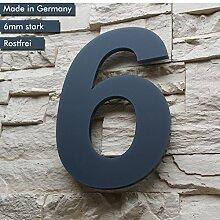 Hausnummer 6 ( 1-stellig / 26cm Ziffernhöhe ) in