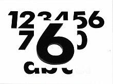 Hausnummer 6 SCHWARZ - HÖHE: 65mm, 3mm dick