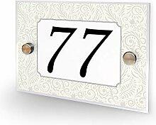Hausnummer 77 Vintage Flowers Design Home Schild