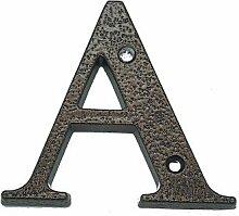 Hausnummer aus Aluminium, 120 mm, antik, A