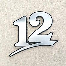 Hausnummer aus Edelstahl gebürstet mit Anthrazit