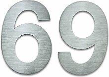 Hausnummer Edelstahl, 20cm hoch, Nummer 69