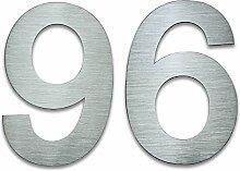Hausnummer Edelstahl, 20cm hoch, Nummer 96