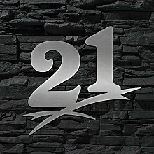 Hausnummer Edelstahl 21 ( 16cm Ziffernhöhe ) -