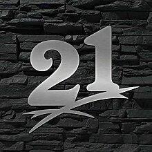Hausnummer Edelstahl 21 ( 20cm Ziffernhöhe ) -