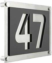 Hausnummer Edelstahl & Anthrazit Grau Matt 4mm