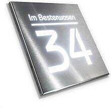 Hausnummer Edelstahl mit LED-Beleuchtung - Gravur