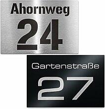 Hausnummer Edelstahl-Schild - Nummer und