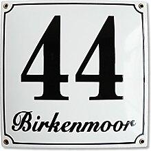 Hausnummer Hausnummernschild Emaille 25x25 cm mit