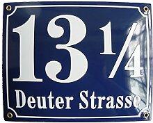 Hausnummer Hausnummernschild Emaille 25x30 cm mit