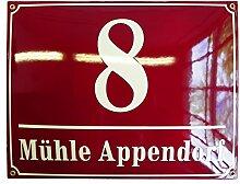 Hausnummer Hausnummernschild Emaille 30x40 cm mit