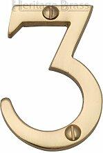 Hausnummer Heritage Brass Farbe: Messing, Nummer: 3