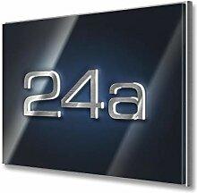 Hausnummer in Anthrazit - aus Edelstahl massiv &