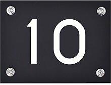 Hausnummer Schild 10 aus Acryl, Hausnummernschild