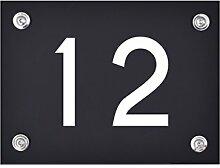Hausnummer Schild 12 aus Acryl, Hausnummernschild