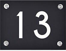 Hausnummer Schild 13 aus Acryl, Hausnummernschild