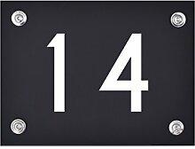 Hausnummer Schild 14 aus Acryl, Hausnummernschild