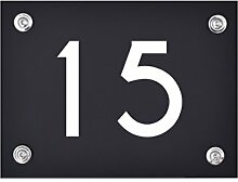 Hausnummer Schild 15 aus Acryl, Hausnummernschild