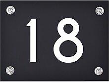 Hausnummer Schild 18 aus Acryl, Hausnummernschild