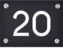 Hausnummer Schild 20 aus Acryl, Hausnummernschild
