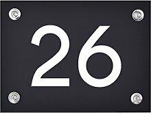 Hausnummer Schild 26 aus Acryl, Hausnummernschild