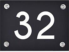Hausnummer Schild 32 aus Acryl, Hausnummernschild