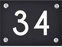 Hausnummer Schild 34 aus Acryl, Hausnummernschild