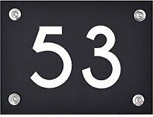 Hausnummer Schild 53 aus Acryl, Hausnummernschild