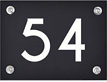 Hausnummer Schild 54 aus Acryl, Hausnummernschild