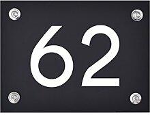 Hausnummer Schild 62 aus Acryl, Hausnummernschild