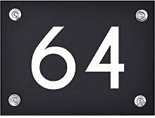Hausnummer Schild 64 aus Acryl, Hausnummernschild