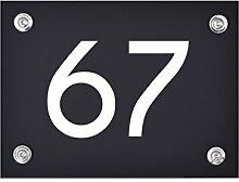 Hausnummer Schild 67 aus Acryl, Hausnummernschild