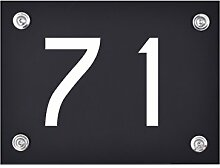 Hausnummer Schild 71 aus Acryl, Hausnummernschild