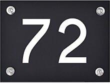 Hausnummer Schild 72 aus Acryl, Hausnummernschild