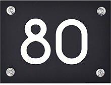 Hausnummer Schild 80 aus Acryl, Hausnummernschild
