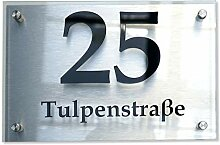 Hausnummer-Schild aus Aluminium & Acryl - Nummer &