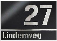 Hausnummer-Schild aus Edelstahl - schwarz - Nummer