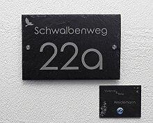 Hausnummer Set mit Gravur/Klingel Schieferklingel