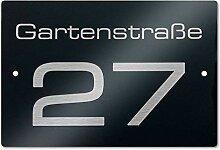 Hausnummer- und Straßen-Schild in Anthrazit