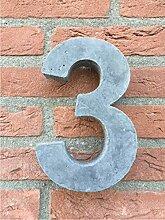 Hausnummer von Beton Nr.3 20cm hoch, Versand