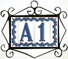 Hausnummern, Keramikfliesen, Buchstaben und