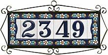 Hausnummern und Buchstaben aus Keramik, blaues