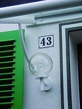 Hausnummernschild Hausnummer 58, Grund: blau,