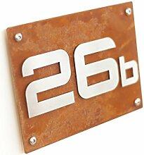 Hausnummernschild Hausnummer Corten Stahl Design