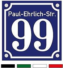 Hausnummernschild Hausnummer Straßenname in