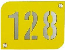 Hausnummernschild Hausnummernschild gelb mit