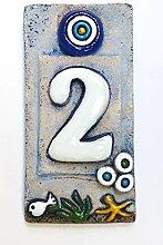 Hausnummernschild, Keramik, 12 x 5 cm,
