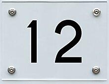 Hausnummernschild mit Hausnummer 12, Acryl Haus