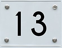 Hausnummernschild mit Hausnummer 13, Acryl Haus