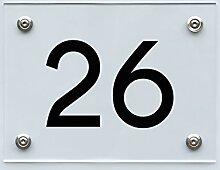 Hausnummernschild mit Hausnummer 26, Acryl Haus